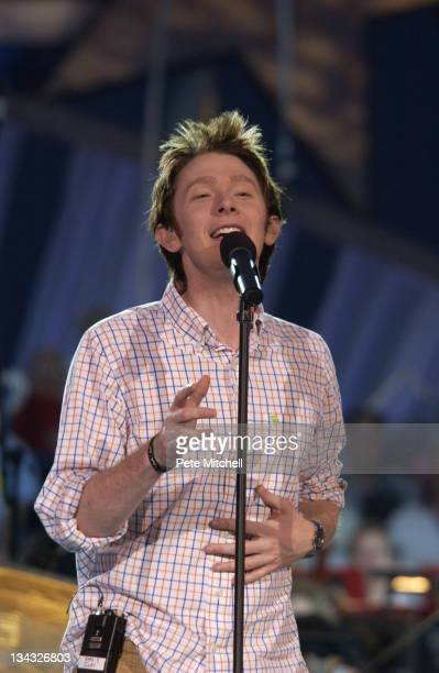 Clay Aiken performs during A Capitol Fourth 2004 Concert Rehearsal at West Lawn US Capitol in Washington DC United States