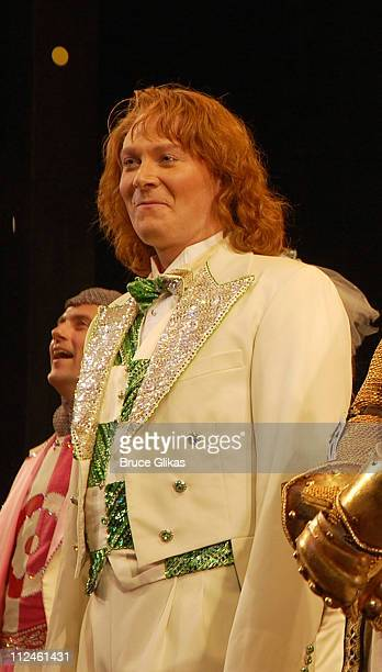 Clay Aiken takes his curtain call as he rejoins Monty Python's Spamalot on Broadway at The Shubert Theater on September 192008 in New York City
