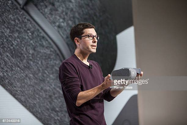 Clay Bavor VP Virtual Reality at Google Inc speaks during an event to introduce the Google Pixel phone and other Google products on October 4 2016 in...