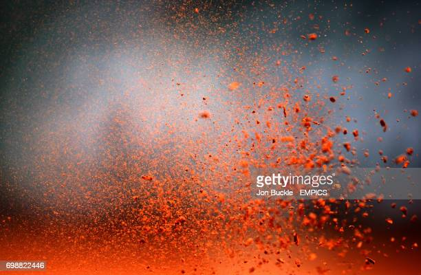 Clay breaks off the sole of the tennis shoe on day four of the French Open at Roland Garros on May 27 2015 in Paris France