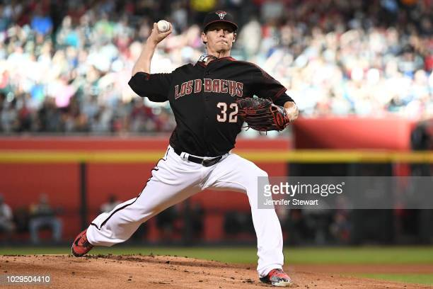 Clay Buchholz of the Arizona Diamondbacks delivers a pitch in the first inning of the MLB game against the Atlanta Braves at Chase Field on September...