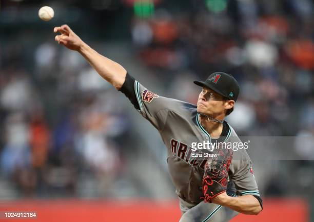 Clay Buchholz of the Arizona Diamondbacks pitches against the San Francisco Giants in the first inning at ATT Park on August 28 2018 in San Francisco...