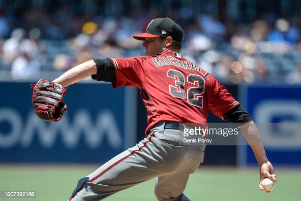 Clay Buchholz of the Arizona Diamondbacks pitches during the first inning of a baseball game against the San Diego Padres PETCO Park on July 29 2018...
