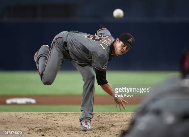 Clay Buchholz of the Arizona Diamondbacks pitches during the first inning of a baseball game against the San Diego Padres at PETCO Park on August 16...