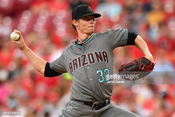 Clay Buchholz of the Arizona Diamondbacks pitches in the first inning against the Cincinnati Reds at Great American Ball Park on August 10 2018 in...
