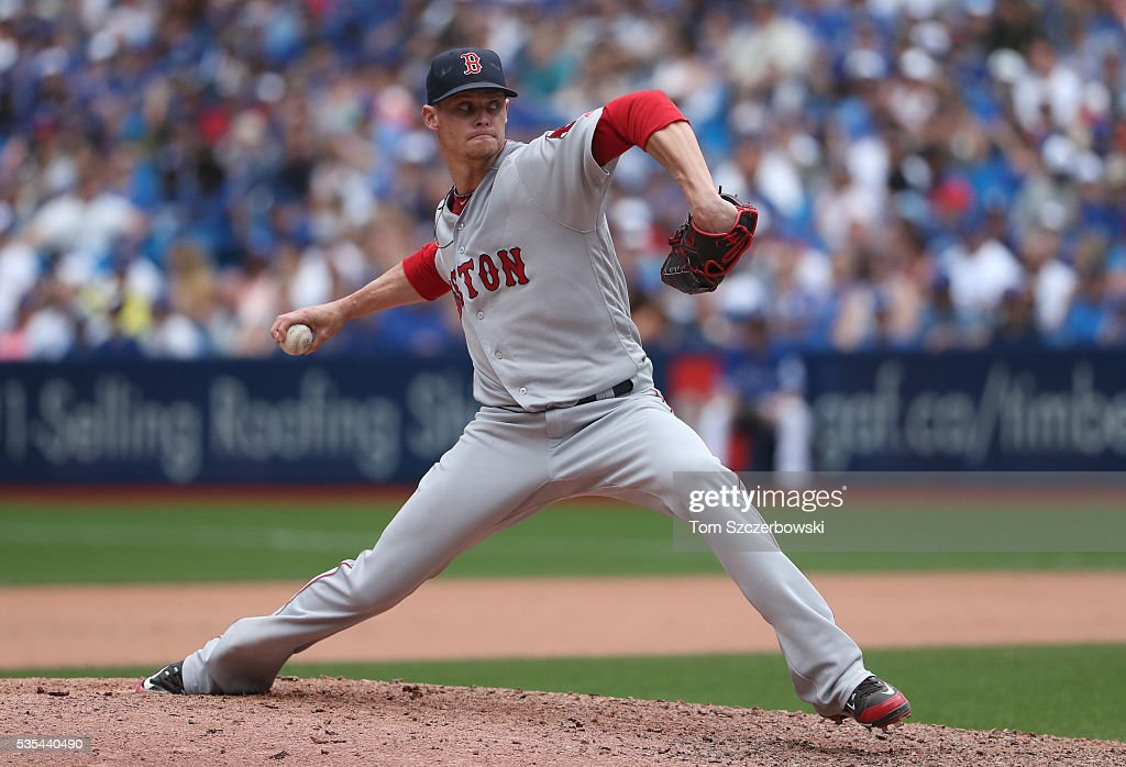 Clay Buchholz #11 of the Boston Red Sox delivers a pitch in the tenth inning during MLB game action against the Toronto Blue Jays on May 29, 2016 at Rogers Centre in Toronto, Ontario, Canada.