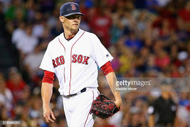 Clay Buchholz of the Boston Red Sox looks on during the seventh inning against the Minnesota Twins at Fenway Park on July 23 2016 in Boston...