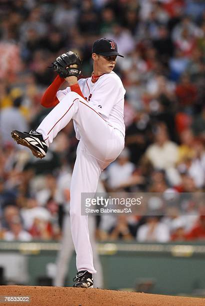 Clay Buchholz of the Boston Red Sox pitches against the Baltimore Orioles on September 1 2007 at Fenway Park in Boston Massachusetts Buchholz pitched...
