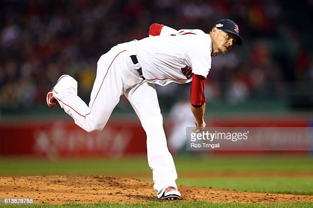 Clay Buchholz of the Boston Red Sox pitches during Game 3 of ALDS against the Cleveland Indians at Fenway Park on Monday October 10 2016 in Boston...