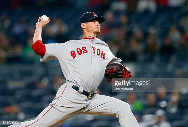 Clay Buchholz of the Boston Red Sox pitches in the first inning against the New York Yankees at Yankee Stadium on September 28 2016 in the Bronx...