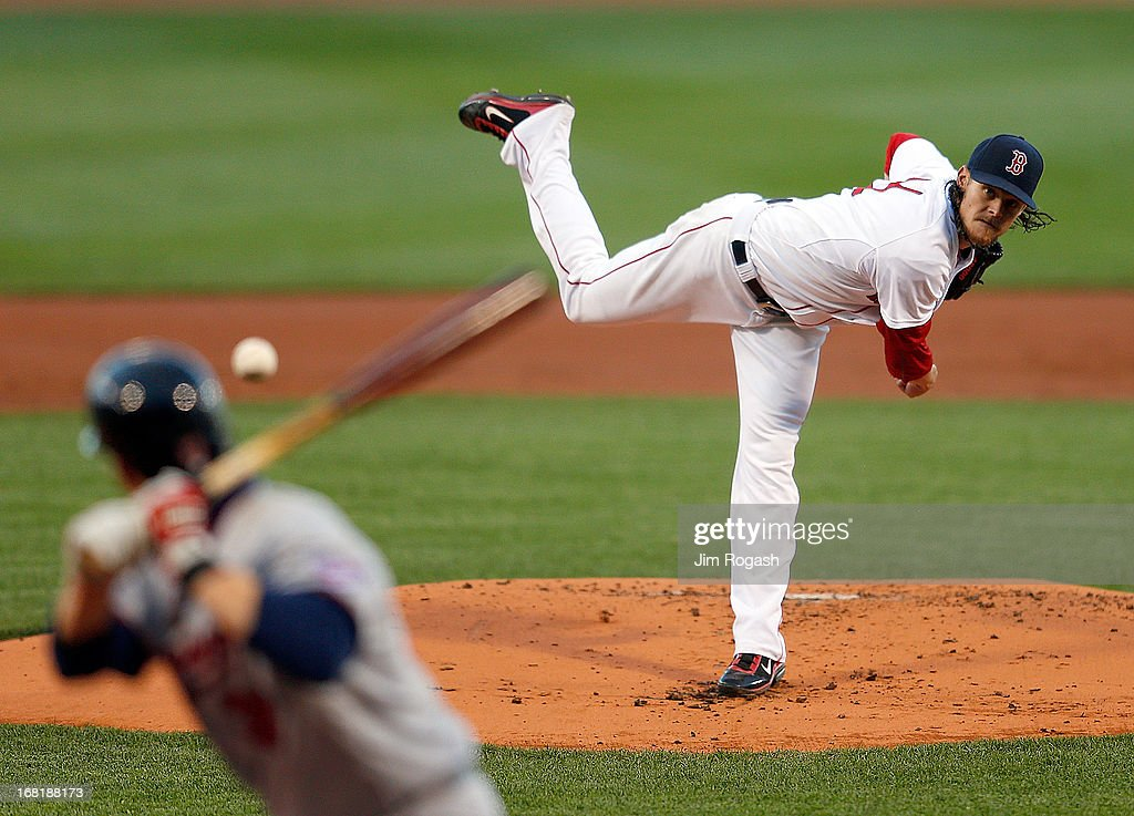 Clay Buchholz #11 of the Boston Red Sox throws against the Minnesota Twins in the first inning at Fenway Park on May 6, 2013 in Boston, Massachusetts.