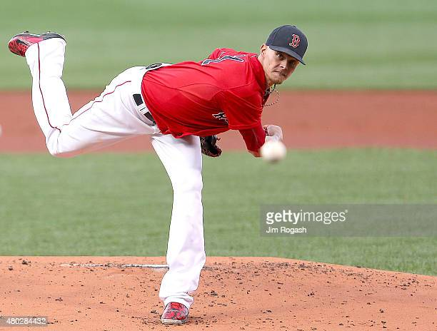 Clay Buchholz of the Boston Red Sox throws against the New York Yankees in the first inning at Fenway Park on July 10 2015 in Boston Massachusetts