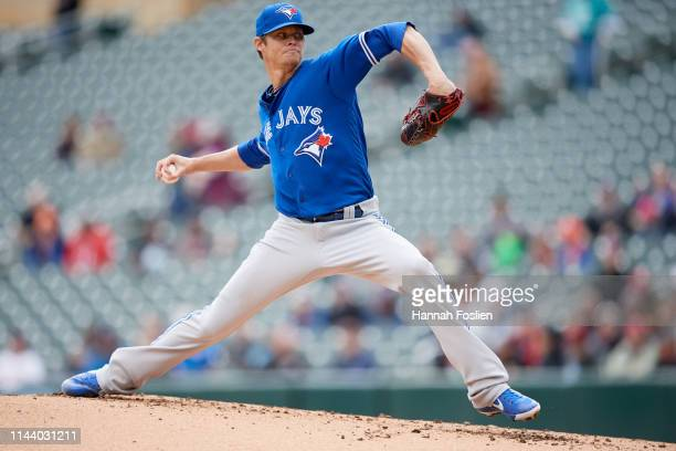 Clay Buchholz of the Toronto Blue Jays delivers a pitch against the Minnesota Twins during the game on April 18 2019 at Target Field in Minneapolis...