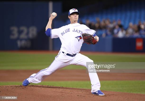 Clay Buchholz of the Toronto Blue Jays delivers a pitch in the first inning during MLB game action against the Tampa Bay Rays at Rogers Centre on...