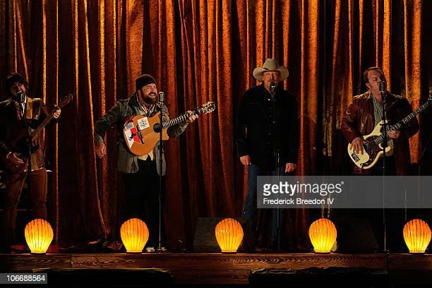 Clay Cook Zac Brown Alan Jackson and John Driskoll Hopkins perform onstage at the 44th Annual CMA Awards at the Bridgestone Arena on November 10 2010...