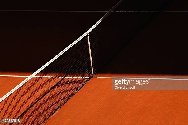 Clay court detail during day five of the Mutua Madrid Open tennis tournament at the Caja Magica on May 6 2015 in Madrid Spain