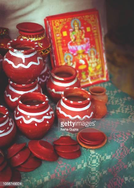 Clay diyas - Diwali market, New Delhi, India