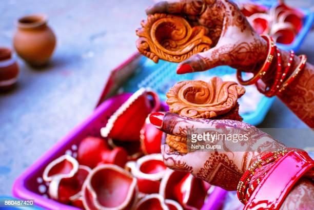 clay diyas - diwali - diwali stock pictures, royalty-free photos & images