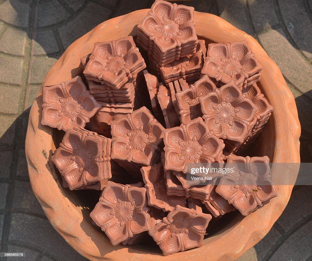 Clay diyas ready for diwali : Stock Photo