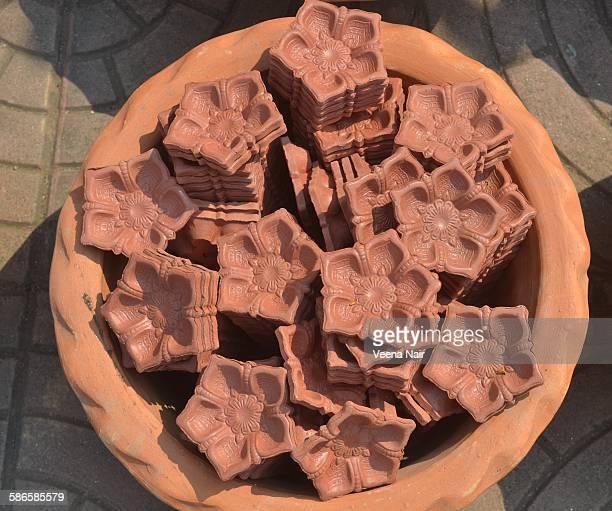 Clay diyas ready for diwali