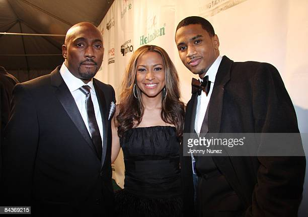 Clay Evans Valeisha Butterfield and Trey Songz attend the Hip Hop Summit Action Network Inaugural Ball at the Harman Center for the Arts on January...