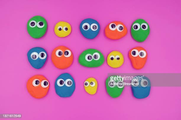 clay faces with google eyes - google stock pictures, royalty-free photos & images