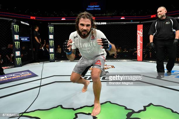 Clay Guida celebrates after defeating Joe Lauzon by TKO in their lightweight bout during the UFC Fight Night event inside the Ted Constant Convention...