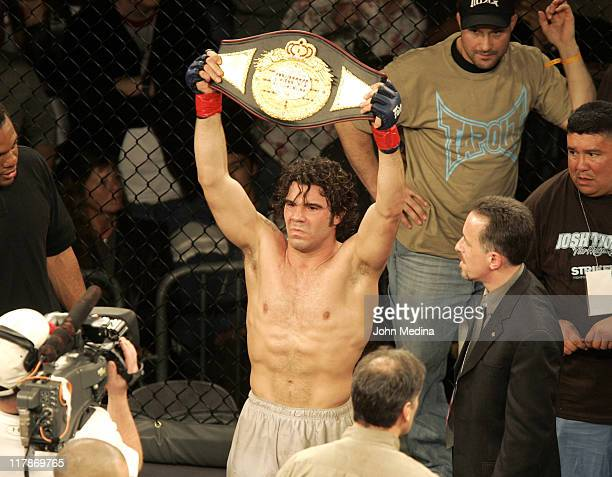 """Clay guida celebrates his unanimous decision defeat of Josh Thompson during the """"StrikeForce"""" professional mixed martial arts event March 10, 2006 at..."""