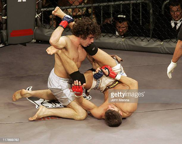 """Clay Guida prepares to deliver a blow to Josh Thompson during the """"StrikeForce"""" professional mixed martial arts event March 10, 2006 at HP Pavilion..."""