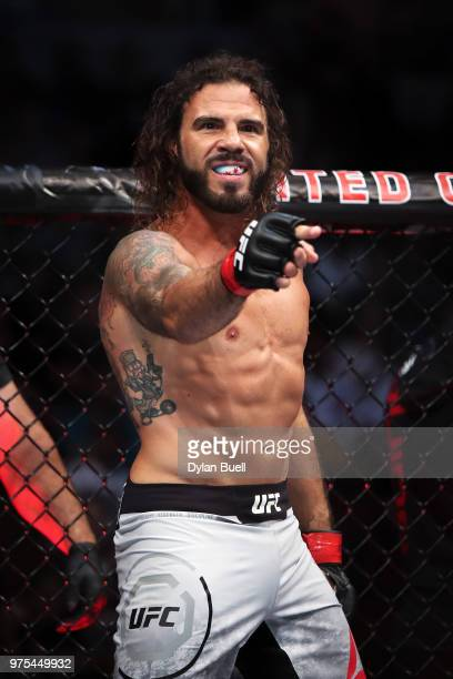 Clay Guida prepares to fight Charles Oliveira of Brazil in their lightweight bout during the UFC 225 Whittaker v Romero 2 event at the United Center...