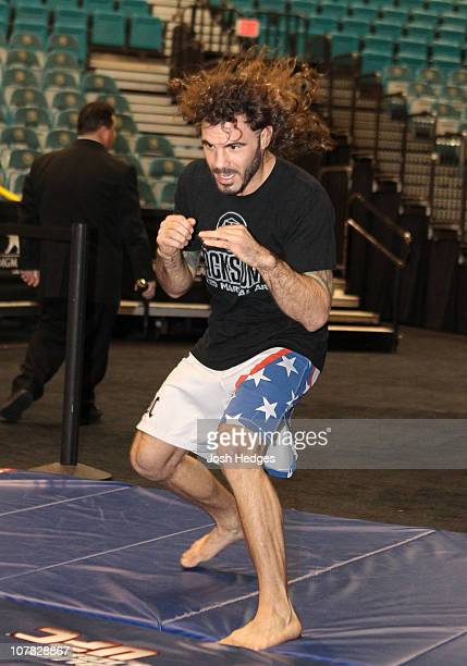 Clay Guida works out for the media and the fans at the UFC 125 open workouts at the MGM Grand Garden Arena on December 30 2010 in Las Vegas Nevada