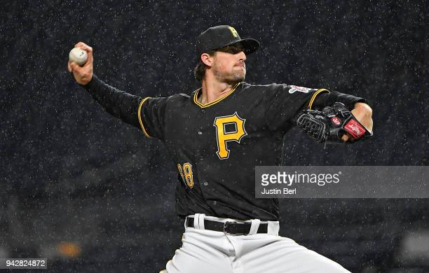 Clay Holmes of the Pittsburgh Pirates delivers a pitch in the eighth inning during the game against the Cincinnati Reds at PNC Park on April 6 2018...