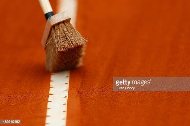 Clay is brushed during day five of the Monte Carlo Rolex Masters tennis at the MonteCarlo Sporting Club on April 16 2015 in MonteCarlo Monaco