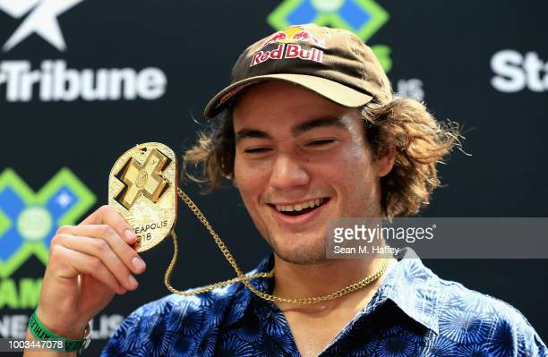 Clay Kreiner competes in the Men's Skateboard Park Final during the ESPN X Games at US Bank Stadium on at US Bank Stadium on July 21 2018 in...