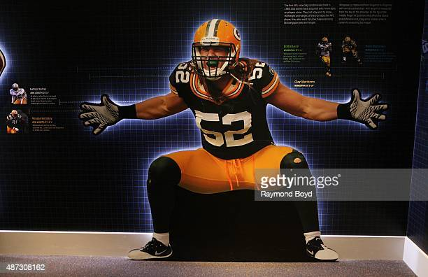 Clay Matthews cutout is on display inside the Green Bay Packers 'Hall Of Fame' inside the Lambeau Field atrium on August 31 2015 in Green Bay...