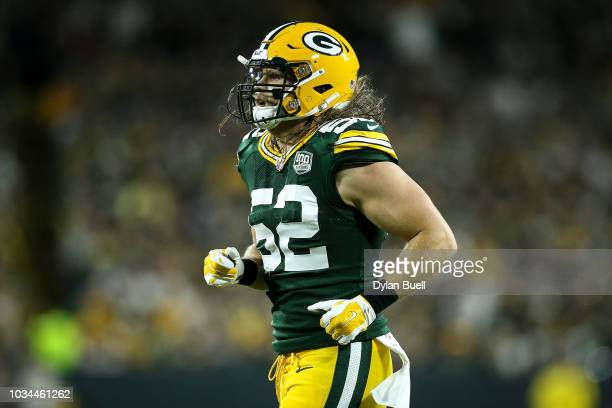 Clay Matthews of the Green Bay Packers jogs across the field in the first quarter against the Chicago Bears at Lambeau Field on September 9 2018 in...