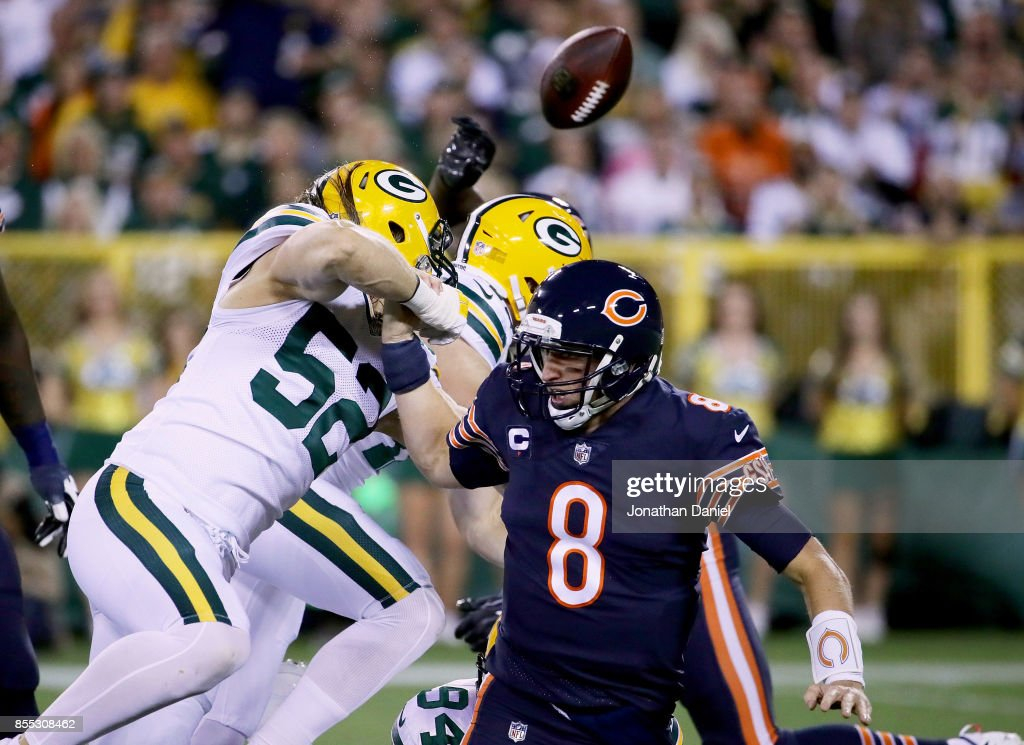 Clay Matthews #52 of the Green Bay Packers sacks Mike Glennon #8 of the Chicago Bears in the first quarter at Lambeau Field on September 28, 2017 in Green Bay, Wisconsin.