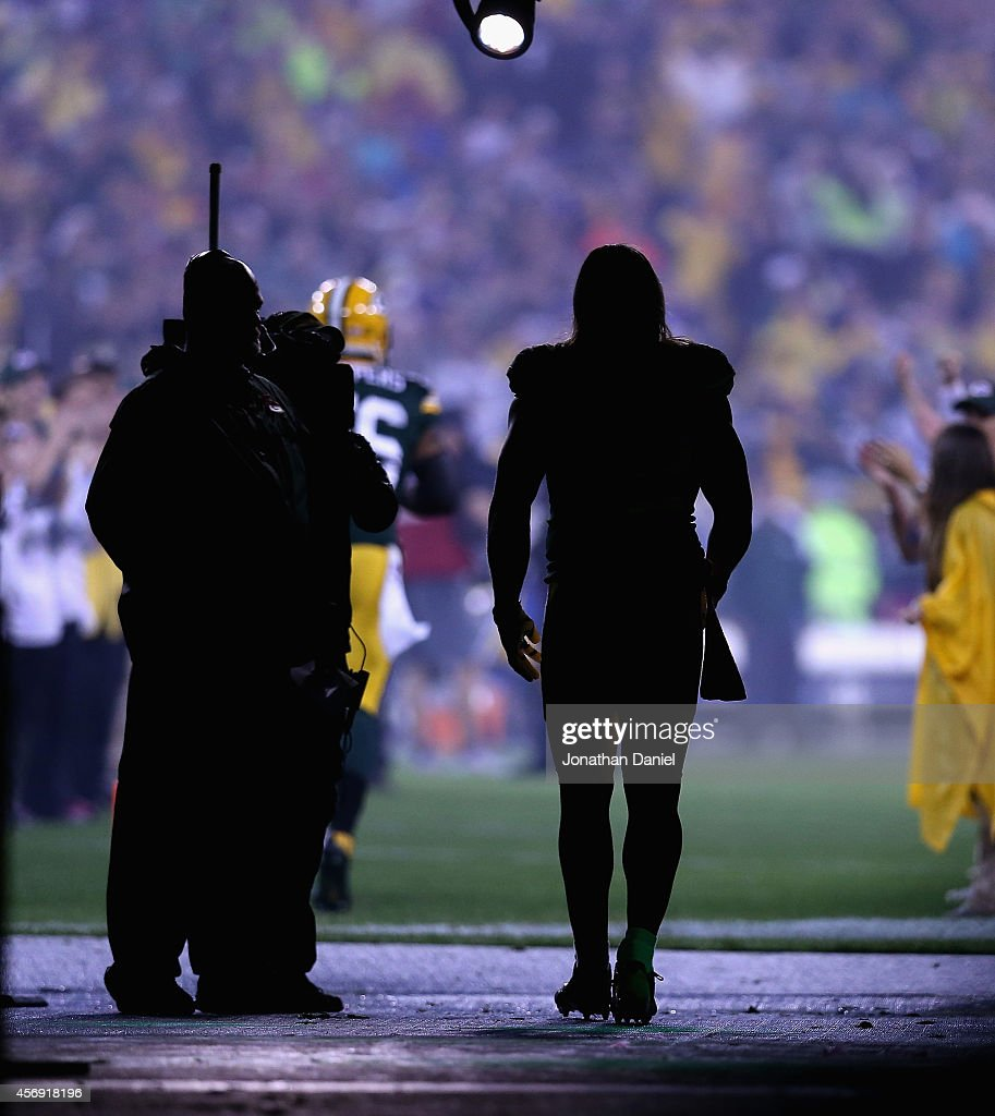 Clay Matthews #52 of the Green Bay Packers waits to be introuduced during player introductions before a game against the Minnesoota Vikings at Lambeau Field on October 2, 2014 in Green Bay, Wisconsin. The Packers defeated the Vikings 42-10.
