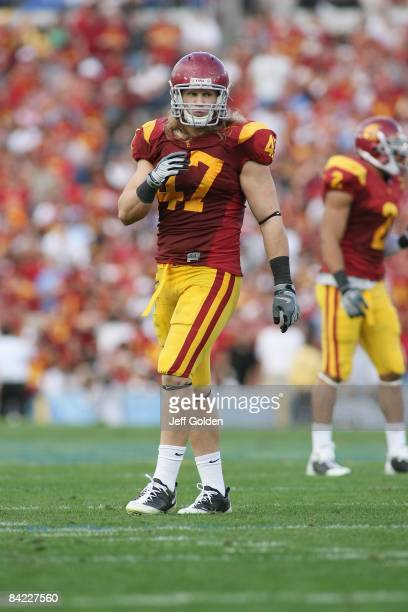 Clay Matthews of the USC Trojans looks on against the UCLA Bruins on December 6, 2008 at the Rose Bowl in Pasadena, California. USC won 28-7.