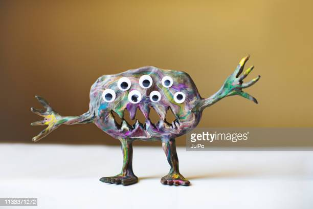 clay monster - monster fictional character stock pictures, royalty-free photos & images