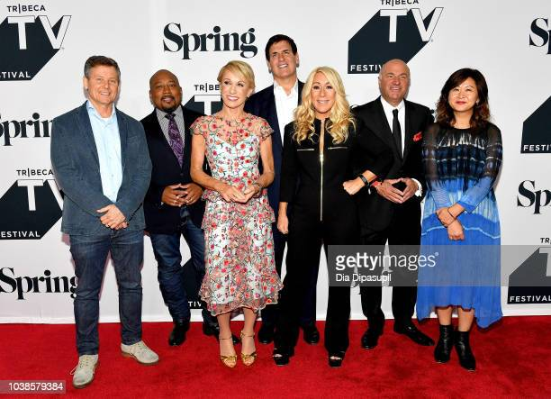 Clay Newbill Daymond John Barbara Corcoran Mark Cuban Lori Greiner Kevin O'Leary and Yun Lingner attend the Tribeca Talks Panel 10 Years Of Shark...