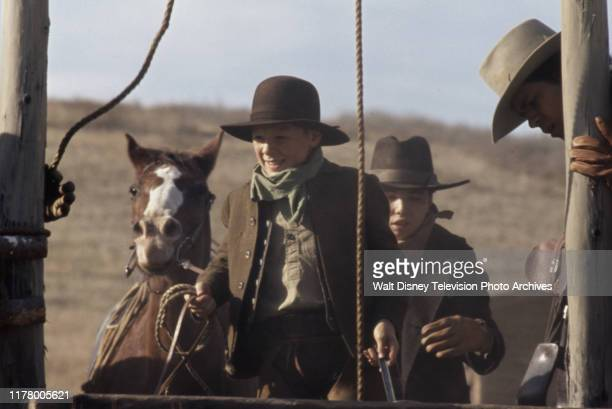 Clay O'Brien, Clint Howard, A Martinez appearing in the ABC tv series 'The Cowboys', shot at the Empire Ranch.