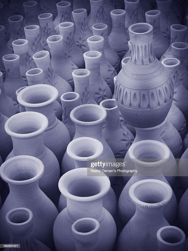 Clay pottery work : Stock Photo
