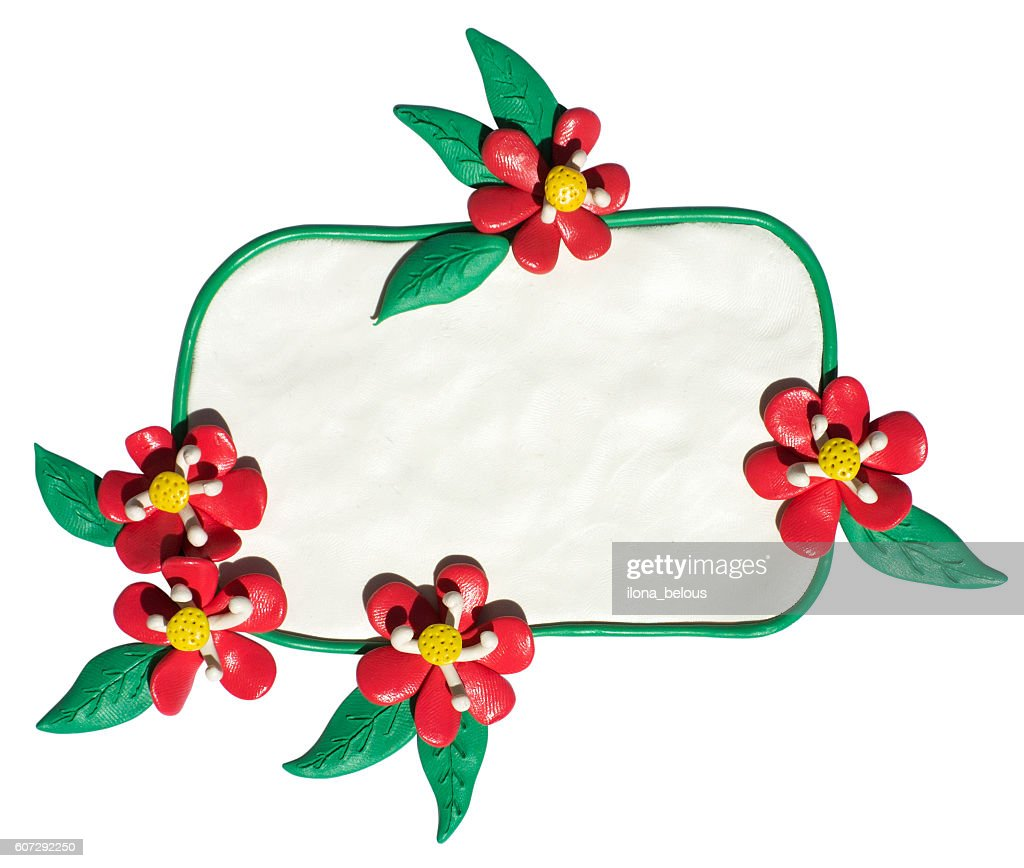 Clay Putty Plasticine Handmade Frame Badge With Flowers Stock Photo ...