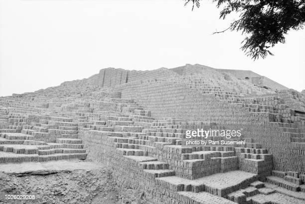 Clay Pyramid Ruins of Huaca Pucllana in Lima, Peru