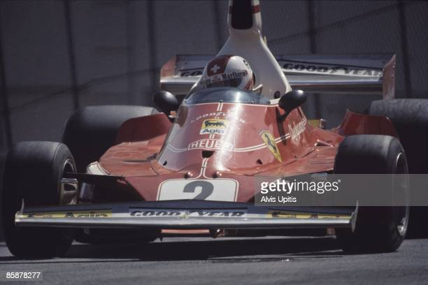 Clay Regazonni in the winning Ferrari 312T at the first United States Grand Prix West held on March 28 1976 in Long Beach California