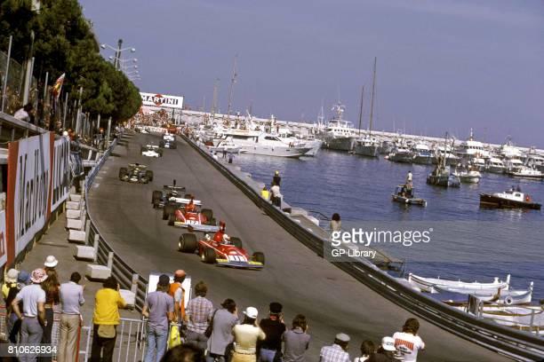 Clay Regazzoni in a Ferrari 312B3 leads opening lap at the Monaco GP 4th