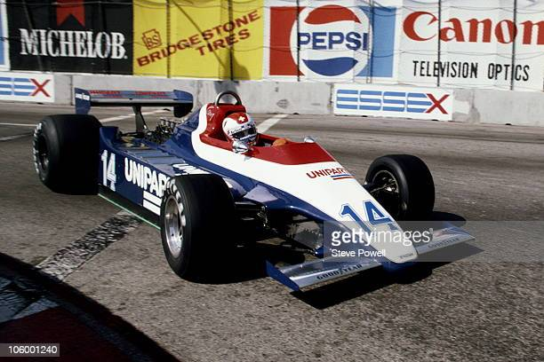 Clay Regazzoni of Switzerland drives the Unipart Racing Team Ensign N180 Ford Cosworth DFV 30 V8 during the United States Grand Prix West on 30th...