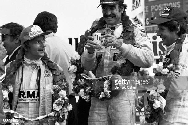 Clay Regazzoni René Arnoux JeanPierre Jarier Grand Prix of Great Britain Silverstone Circuit 14 July 1979 Clay Regazzoni celebrating the first ever...