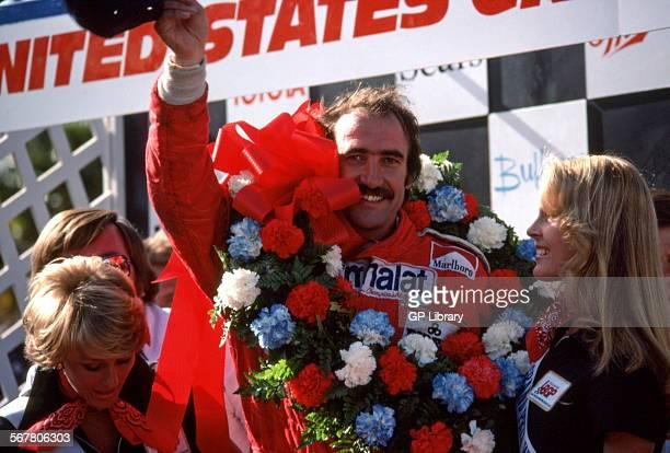 Clay Reggazzoni Ferrari driver after winning the US GP West at Long Beach in the Ferrari 312T USA 1976